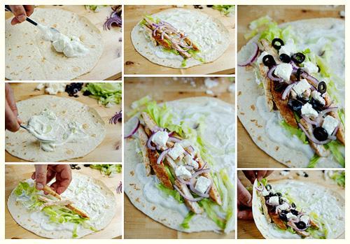 Salad gà cuốn kiểu Hy Lạp